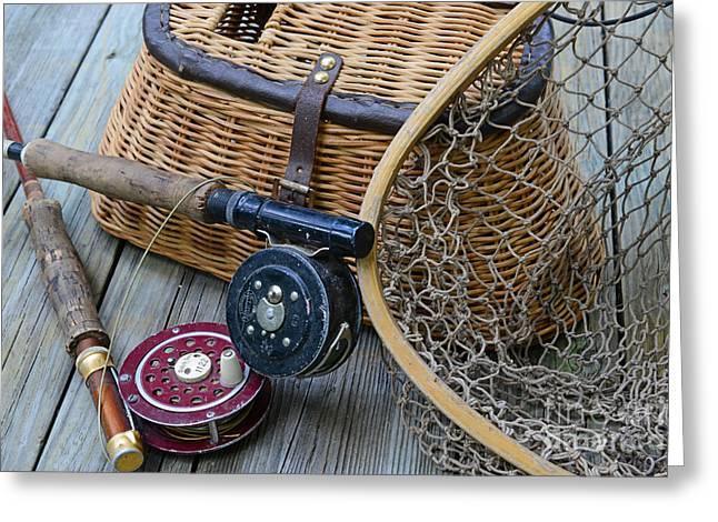 Fishing - Vintage Fishing  Greeting Card by Paul Ward