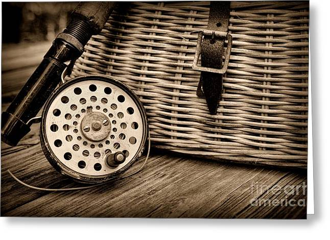 Fishing - Vintage Fly Fishing - Black And White Greeting Card