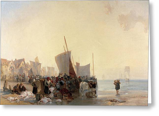 Fishmarket A Fish Market Near Boulogne Fish-market Greeting Card by Litz Collection