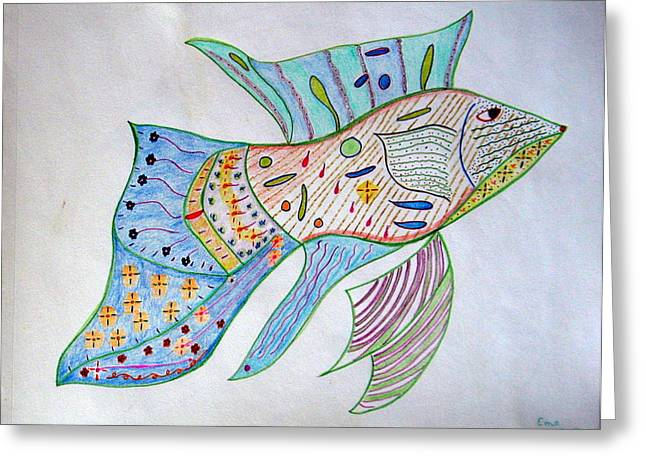 Fishstiqueart 2009 Greeting Card by Elmer Baez
