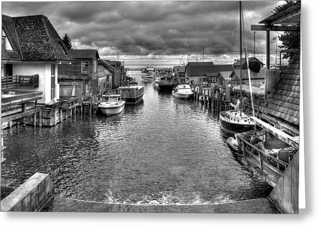 Fishtown In Lelans Black And White Greeting Card by Twenty Two North Photography