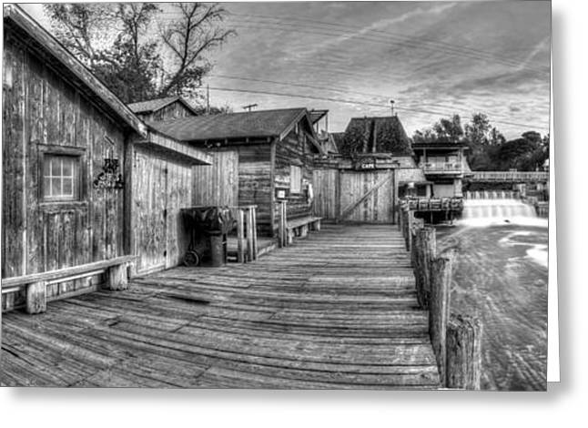 Fishtown Panorama In Black And White Greeting Card by Twenty Two North Photography