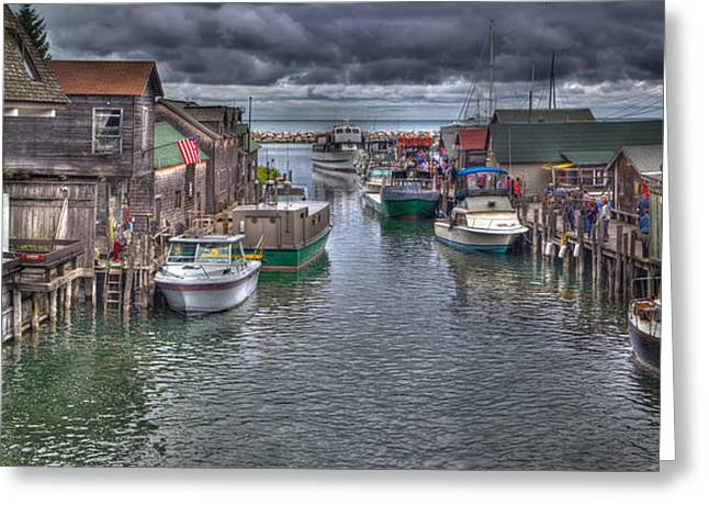 Fishtown Panorama Greeting Card by Twenty Two North Photography