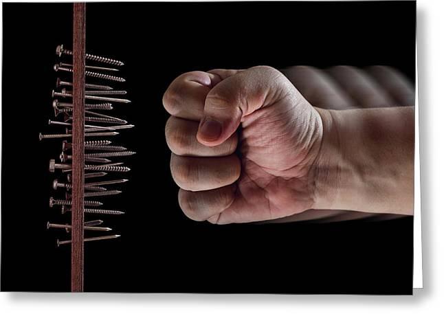 Fist Hitting Nails And Screws Greeting Card