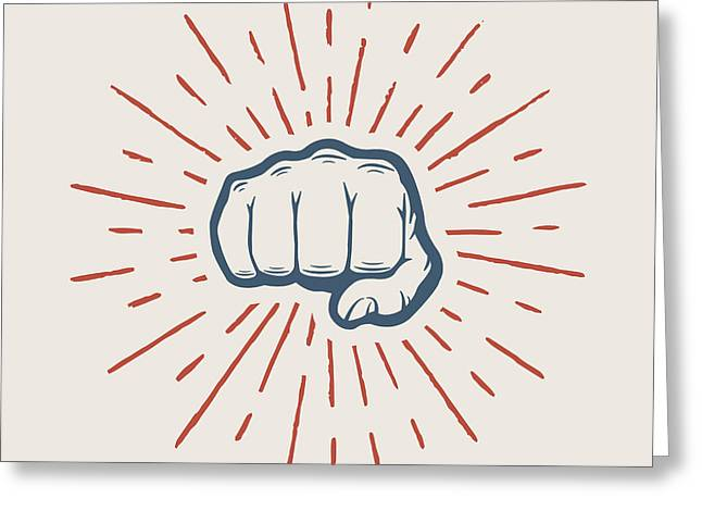 Fist With Sunbursts In Vintage Style Greeting Card