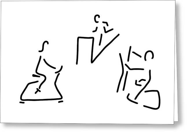 Fitness Hometrainer Crosstrainer Sport Greeting Card by Lineamentum