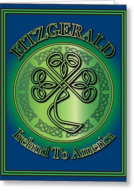 Fitzgerald Ireland To America Greeting Card