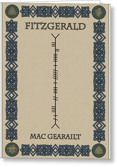 Fitzgerald Written In Ogham Greeting Card