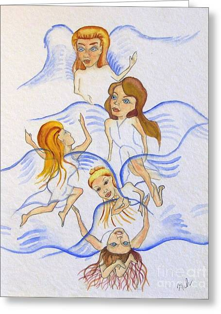 Five Angels Hanging Around  Greeting Card by Kenneth Michur