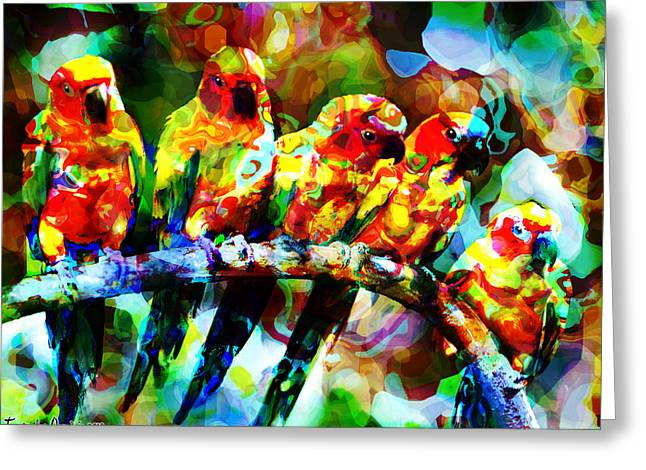 Five Artist Parrots. 2013 80/60 Cm.  Greeting Card by Tautvydas Davainis