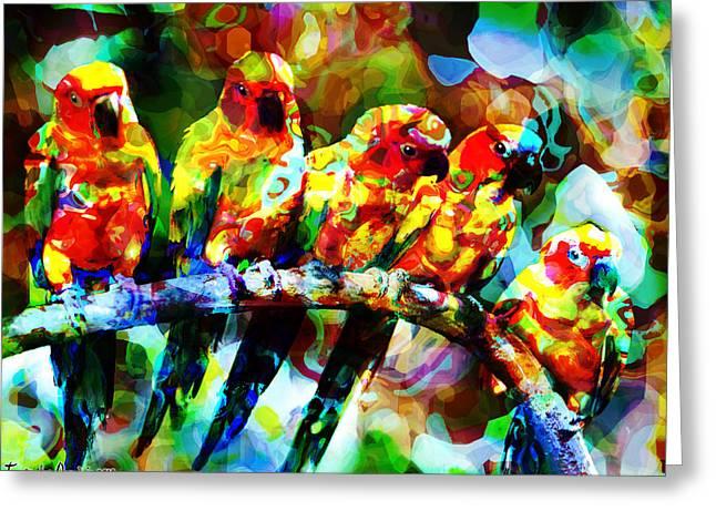 Five Artist Parrots. 2013 80/60 Cm.  Greeting Card by Tautvydas Davainis