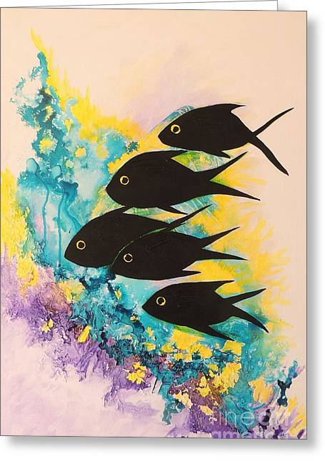 Greeting Card featuring the painting Five Black Fish by Lyn Olsen