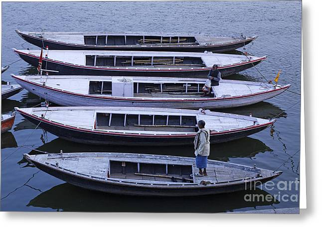 Five Boats On The Ganges Greeting Card by Robert Preston