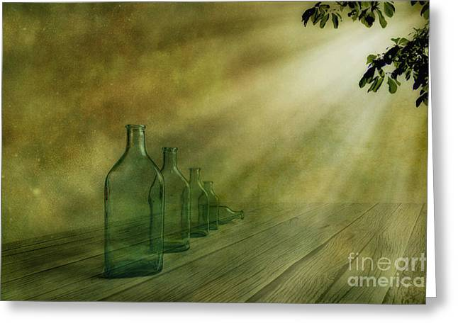 Five Bottles Greeting Card