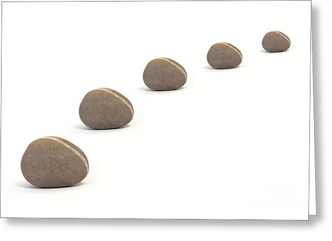 Five Calm Pebbles Against White Background Greeting Card by Natalie Kinnear