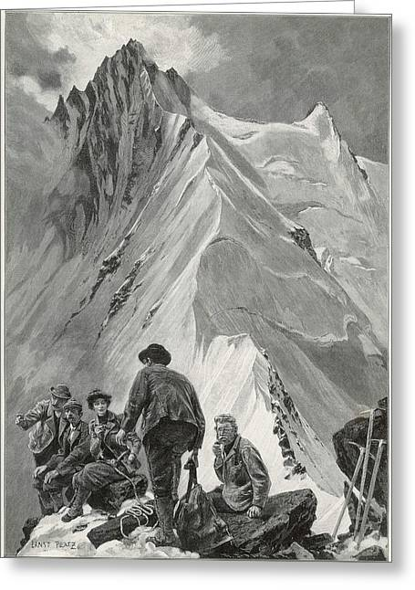 Five Climbers Contemplate The  Daunting Greeting Card by Mary Evans Picture Library