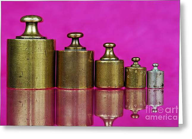 Five Copper Weights In A Row Greeting Card