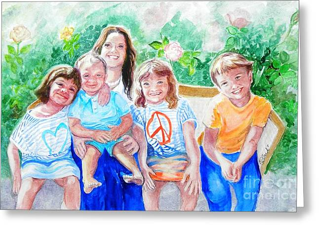 Five Cousins Greeting Card by Susan  Clark