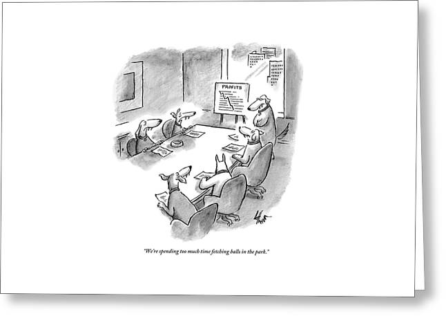 Five Dogs Sit Around An Office Meeting Table Greeting Card