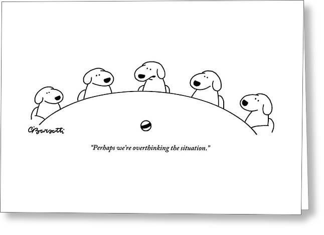 Five Dogs Sitting Around A Roundtable Greeting Card