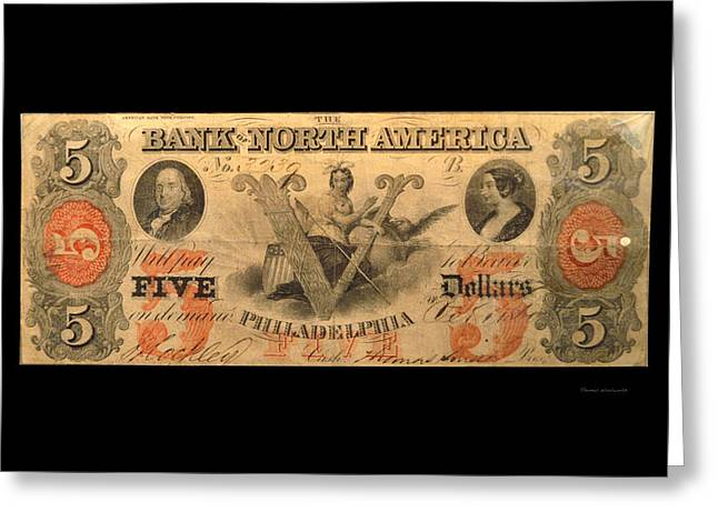 Five Dollar Us Currency Philadelphia 1781 Bill Greeting Card by Thomas Woolworth
