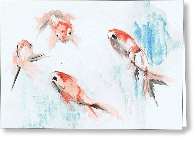 Five Goldfish Greeting Card