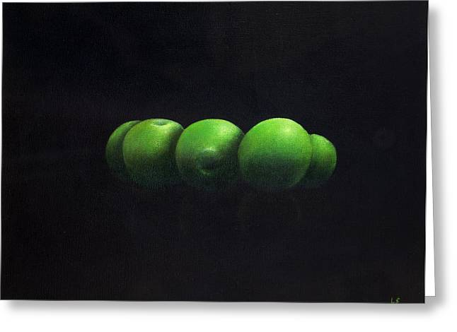 Five Green Apples Greeting Card by Lincoln Seligman