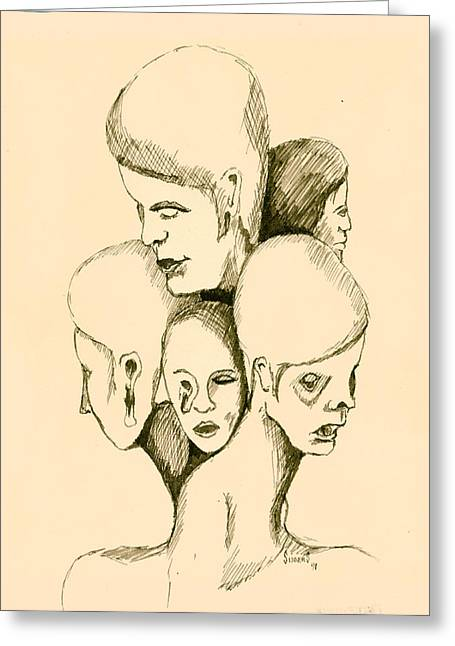Five Headed Figure Greeting Card by Sam Sidders