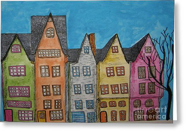 Five In A Row Greeting Card by Marcia Weller-Wenbert