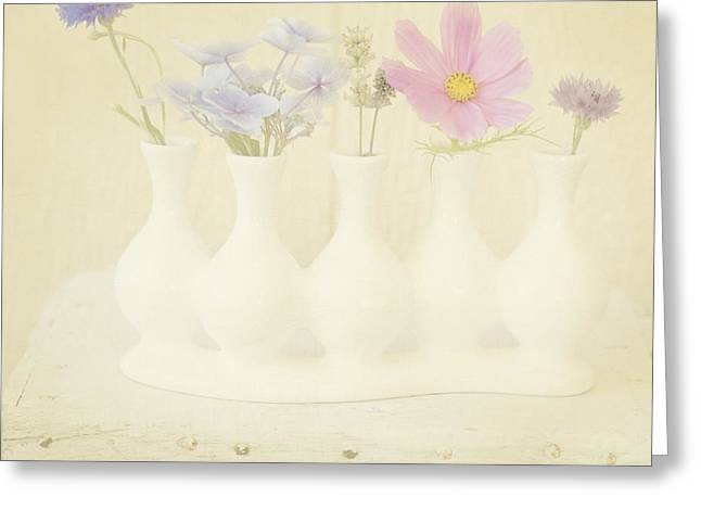 Five Little Bouquets Greeting Card by Bonnie Bruno