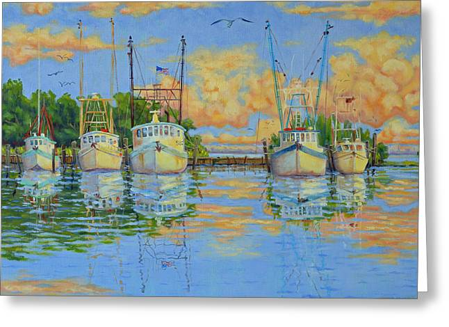 Five Low Country Boats Greeting Card