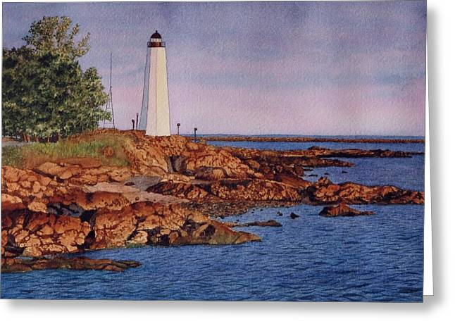 Five Mile Point Lighthouse Greeting Card by Sharon Farber