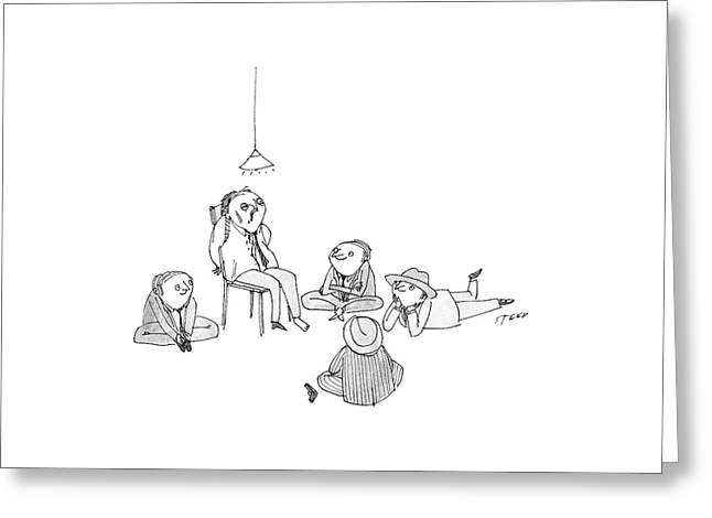 Five Mob-type Guys All Sit Like Children Greeting Card by Edward Steed