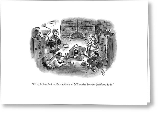 Five Mobsters Meet In A Dim Basement Greeting Card by Frank Cotham