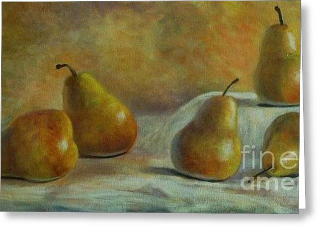 Five Pears Greeting Card by Jana Baker