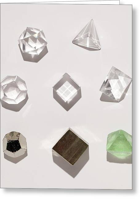 Five Platonic Solids With 3 Natural Forms Greeting Card by Paul D Stewart
