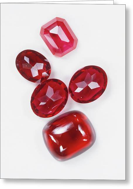 Five Polished Ruby Gemstones Greeting Card