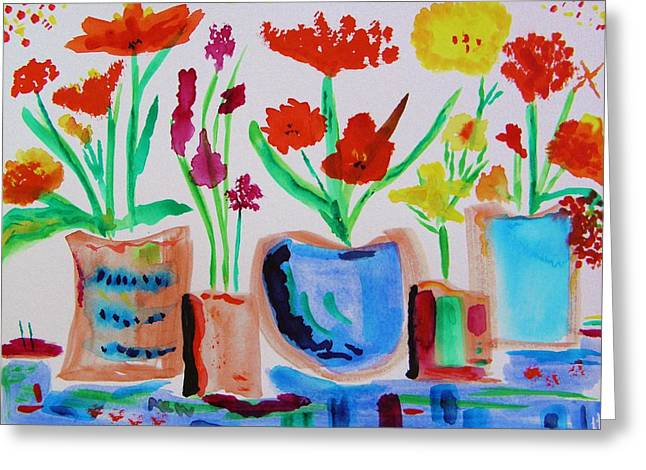 Five Pots In A Row Greeting Card by Mary Carol Williams