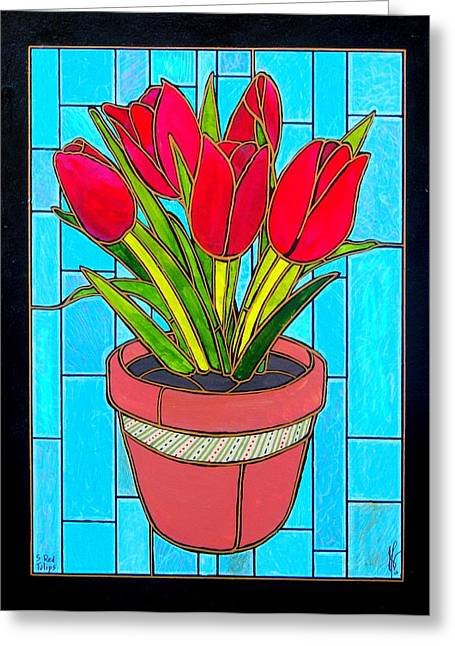 Jim Harris Greeting Cards - Five Red Tulips Greeting Card by Jim Harris