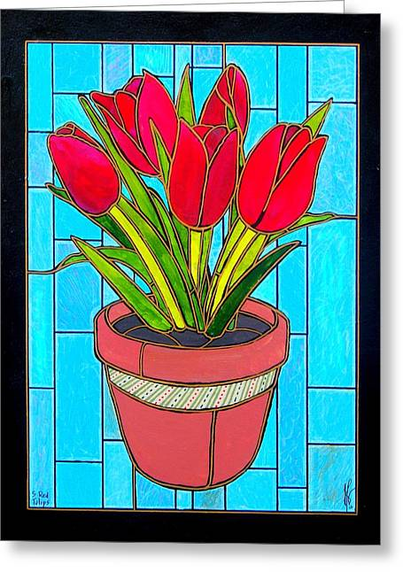 Five Red Tulips Greeting Card by Jim Harris