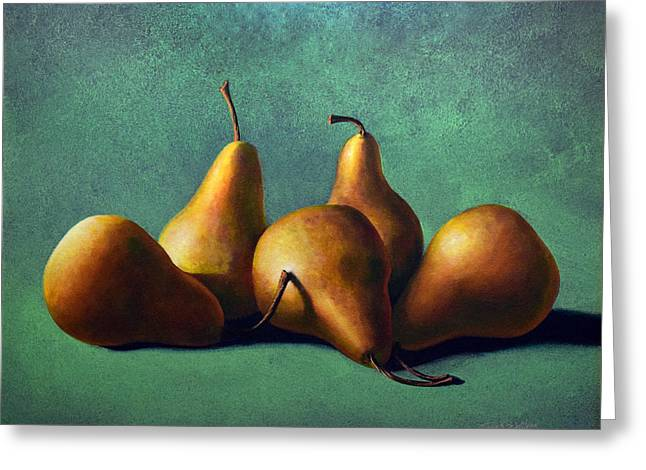 Five Ripe Pears Greeting Card
