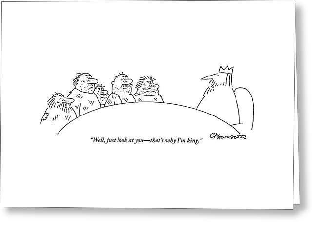 Five Scruffy Looking Men Sit At A Round Table Greeting Card by Charles Barsotti