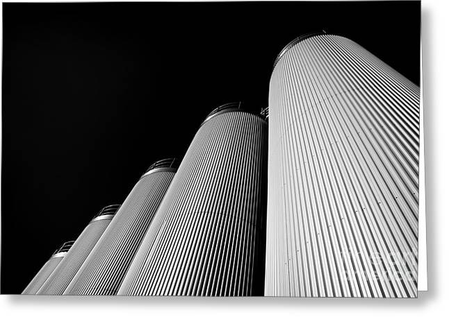 Five Silos In Black And White Greeting Card