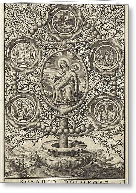 Five Sorrowful Mysteries, Antonie Wierix II Greeting Card