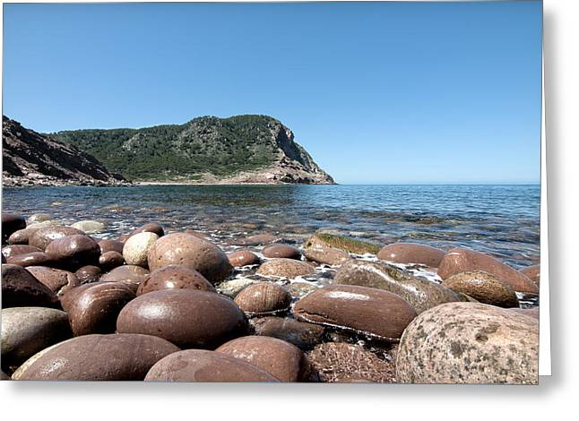 five steps to paradise - Giant pebbles is Menorca north shore close to Cala Pilar beach Greeting Card