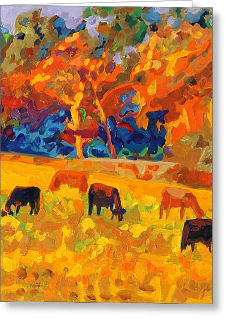 Five Texas Cows At Sunset Oil Painting By Bertram Poole Greeting Card