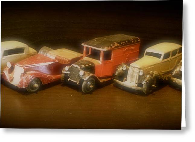 Five Toys From The Forties Greeting Card by John Colley