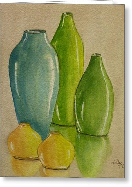 Five Vases Greeting Card