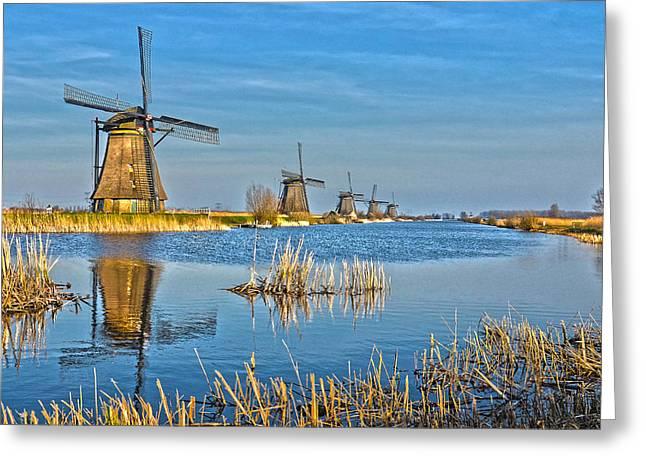 Five Windmills At Kinderdijk Greeting Card