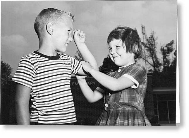 Five Year Olds Check Muscles Greeting Card by Underwood Archives